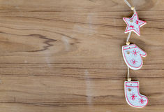 Top view christmas decoration on wood background. Top view white christmas decoration on wood background Stock Photos