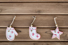 Top view christmas decoration on wood background. Top view white christmas decoration on wood background Royalty Free Stock Photos
