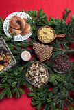 Top view of christmas eve table setting Stock Photo
