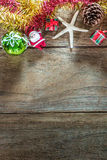 Top view of  Christmas garland on rustic wooden background Royalty Free Stock Photos