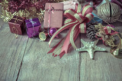 Top view of  Christmas garland on rustic wooden background Stock Image