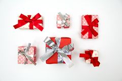Top view of christmas gift boxes on white background Royalty Free Stock Photos