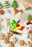 Top view of christmas gingerbread cookies and pastry bags royalty free stock images