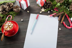 Little girl writes letter to Santa Claus Royalty Free Stock Image