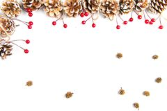 A top view of a Christmas ornaments on a white background. A top view of a Christmas ornaments: pine cones with white painted edges, red berries and small dried royalty free stock photos