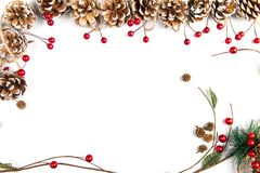 A top view of a Christmas ornaments on a white background. A top view of a Christmas ornaments: pine cones with red berries and a curved twig on white background royalty free stock images