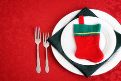 Top view christmas place setting with stocking Royalty Free Stock Photos