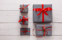 Top view of christmas present boxes on white wood background Stock Image