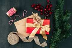 Christmas present and envelope Royalty Free Stock Image