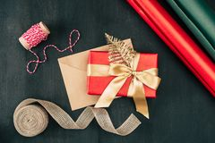 Christmas present and envelope Royalty Free Stock Photos