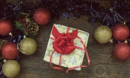 Top view of Christmas vintage arrangement Royalty Free Stock Photos