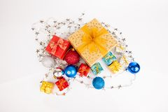 Top view of christmas tree bauble ,ornament and gift box Royalty Free Stock Images