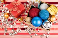 Top view of christmas tree bauble ,ornament and giftbox Stock Photo