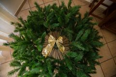 Top view of Christmas tree with gold ribbon Stock Images