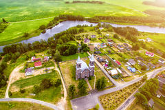 Top View of the church from the air, as if the god looks from above Royalty Free Stock Image