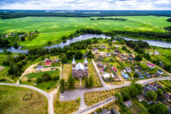 Top View of the church from the air, as if the god looks from above Royalty Free Stock Photos