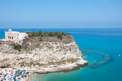 Top view of the church located on the island of Tropea, Calabria Stock Image