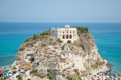 Top view of the church located on the island of Tropea, Calabria Stock Images