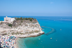 Top view of the church located on the island of Tropea, Calabria Stock Photos