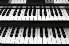 Top view of a church organ keyboard Royalty Free Stock Photos