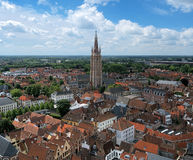 Top view on the Church of Our Lady in Bruges Stock Image