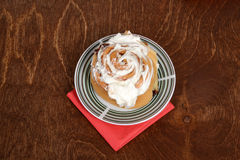 Top view cinnamon bun on a plate Stock Photo