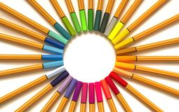 Top view of circle of multicolored pens on white background.