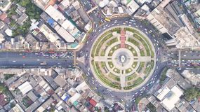 Top view city , Aerial view road , Expressway with car lots in t. He city in Thailand. Beautiful Street at downtown stock images
