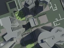 Top view in the city - background Royalty Free Stock Photo