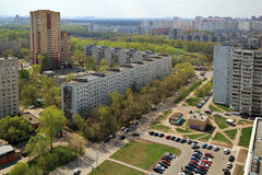 Top view of the city Balashikha in Moscow region, Russia. Aerial view of the modern and old residential district in city Balashikha. Moscow region, Russia Royalty Free Stock Image