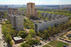 Top view of the city Balashikha in Moscow region, Russia. Aerial view of the modern residential district in city Balashikha. Moscow region, Russia Stock Photos