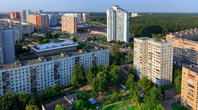 Top view of the city Balashikha in Moscow region, Russia. Aerial view of the modern residential district in city Balashikha. Moscow region, Russia Royalty Free Stock Photo