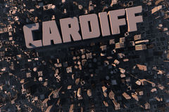 Top view of city Cardiff in 3D. Top view of urban city in 3D with skycrapers, buildings and name Cardiff Royalty Free Stock Photography