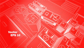 Top view city center red background white outline. Schematic building  illustration Royalty Free Stock Images