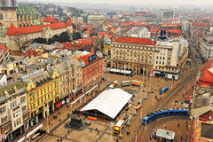 Top view of the city centre of Zagreb Stock Image