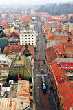 Top view of the city centre of Zagreb Stock Images