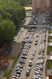 Top view of the city, courtyards, and a large number of parked cars Royalty Free Stock Photography