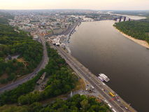 A top view of the city, Dnipro river , central river station Stock Image