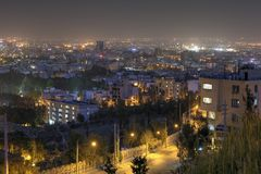 Top view of the city and evening lights, Shiraz, Iran. Stock Image