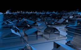 Top view of a city full of blue transparent houses and buildings with abstract buildings on the horizon with black sky stock illustration