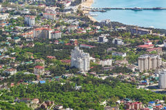 Top view of the city of Gelendzhik, on the shore of Gelendzhik Bay of the Black sea Royalty Free Stock Images