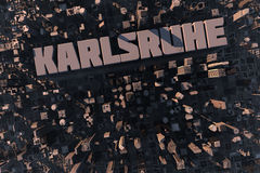 Top view of city Karlsruhe in 3D. Top view of urban city in 3D with skycrapers, buildings and name Karlsruhe Royalty Free Stock Images