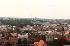 Top view of the city Lviv royalty free stock photo