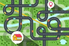 Top View City Map with Cars on Road, River and Trees. House Icon with Destination Pin Vector Illustration. royalty free illustration