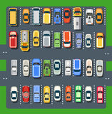 Top view of a city parking vector illustration