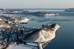 Top view of City Petropavlovsk-Kamchatsky and Avacha Bay Royalty Free Stock Photo
