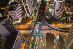 Top view, City road intersection and downtown background Royalty Free Stock Images