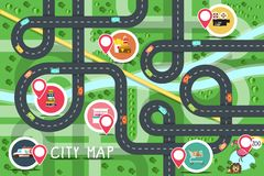 Top View City Road Map with Destination Points. Hospital, Zoo, Supermarket, Fastfood, Bookstore, Hotel and Cinema. Vector Flat Design Aerial View Town stock illustration
