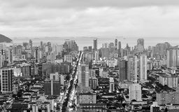 Top view of the city of Santos, in Brazil. Black and white version Royalty Free Stock Image