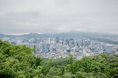 Top view city in seoul tower Stock Photography